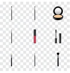 realistic brush eyelashes ink liquid lipstick vector image vector image