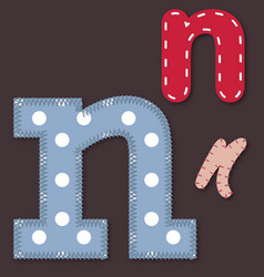 Set of stitched font - Letter N vector image