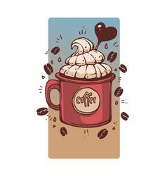 sweet coffee in retro style mug hand drawn vector image