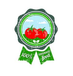 tomato label vegetable logo retro sticker of vector image vector image