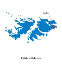 Detailed map of Falkland Islands and capital city vector image vector image