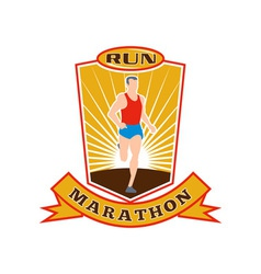 marathon runner run race shield vector image