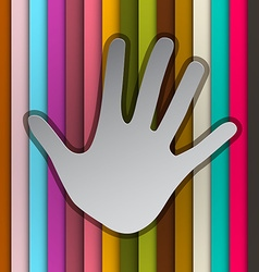 Palm Hand on Colorful Retro Striped Background vector image vector image
