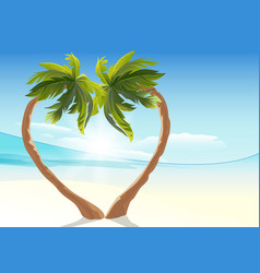 Two tropical palm curved into heart shape Heart vector image vector image