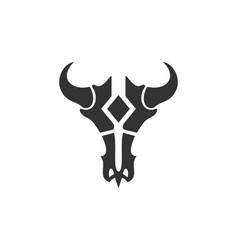 abstract bull skull logo icon vector image