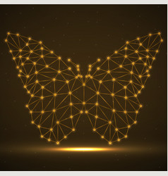 Abstract neon butterfly lines and dots glowing vector