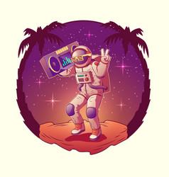 Astronaut or spacemen dancing on moon disco party vector