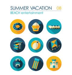 beach entertainment icon set summer vacation vector image