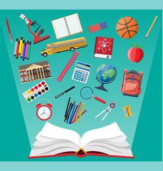 big school set school supplies stationery vector image