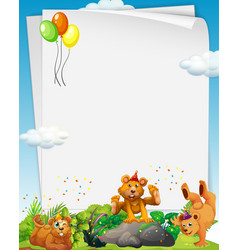 Blank banner with many grizzly bears in party vector