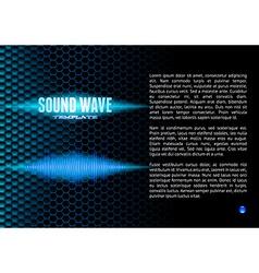 Blue sound waveform on hex grid for booklet vector