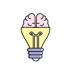 Bulb with brain to creative idea vector