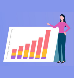 Business report rising graph broker woman vector