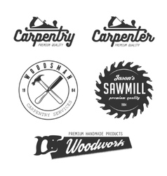 Carpentry emblems badges design elements vector