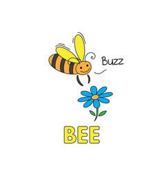 Cartoon bee flashcard for children vector