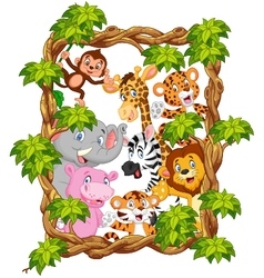Cartoon collection animal with frame wood vector