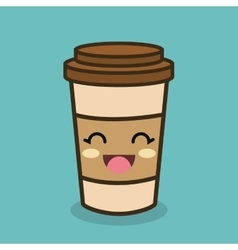 Cartoon cup plastic coffee vector