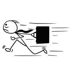 Cartoon of man with briefcase running maybe late vector