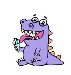 cartoon purple croc eating ice cream vector image