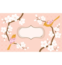 Cherry blossoms greeting card vector