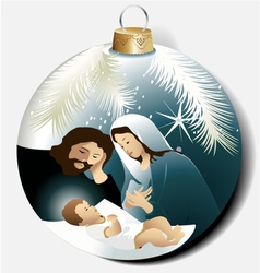 Christmas ball with Holy Family vector image vector image