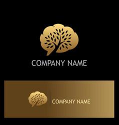 Cloud tree technology gold logo vector