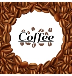 Coffee beans round frame background print vector image