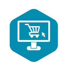 Computer monitor with shopping cart icon vector