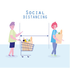 Covid 19 prevention social distancing woman and vector