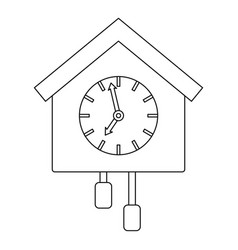 cuckoo clock icon outline style vector image