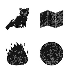 Cutting a cat terrain plan and other web icon in vector