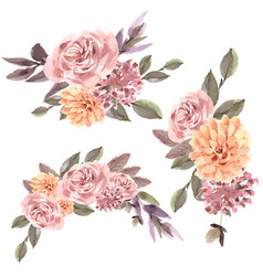 Dried floral bouquet design with rose marigold vector