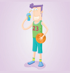 drinking basketball player vector image
