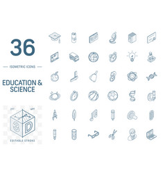 education and learning isometric line icons 3d vector image