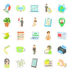 employee icons set cartoon style vector image