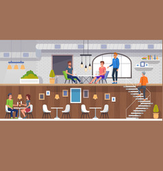 european restaurant interior people eating lunch vector image