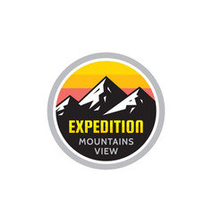 expedition mountains view - concept badge vector image