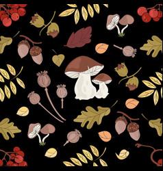 Fall mushroom nature seamless pattern illus vector