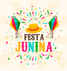 festa junina card carnival balloon and firework vector image