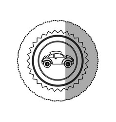 Figure star emblem sport car side icon vector