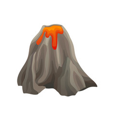 flat icon of large volcano with lights and vector image