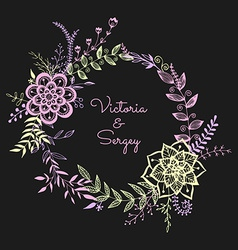 floral wreath on dark background vector image