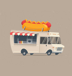Food truck hot dog vector