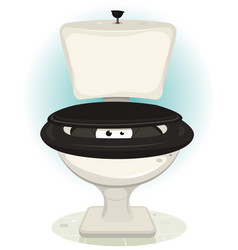 Funny creatures eyes inside water toilet vector