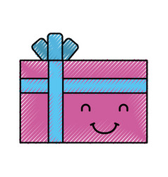 Giftbox present kawaii character vector