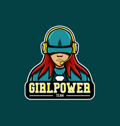 girl power mascot logo vector image
