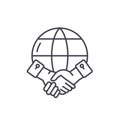 global partnership line icon concept global vector image