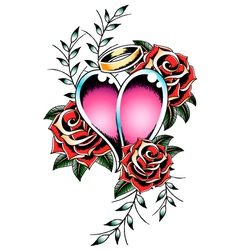 gothic heart and rose vector image