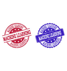 Grunge scratched machine learning stamp seals vector