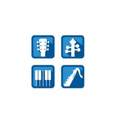 guitar violin piano flute music instruments logo vector image